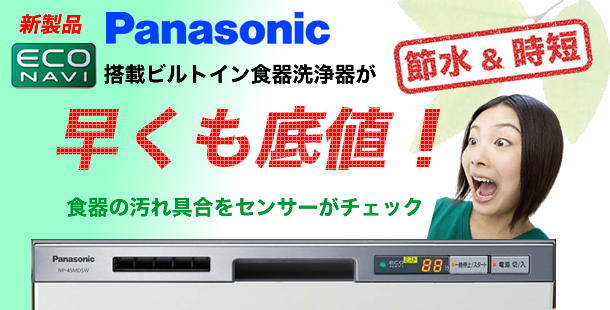 Panasonic 食器洗浄機 NP-45MD5W 新規取り付け工事