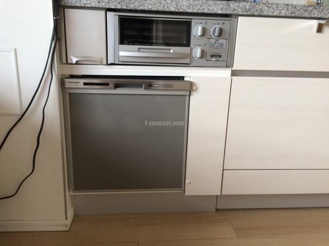 食洗機設置スペースの無いキッチンのガスコンロ下にどうにかNP-45MS8Sを取り付ける工事-パークハウス新宿柏木