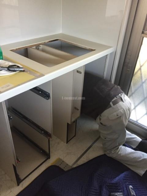 LIXIL システムキッチンアレスタに Miele G4700 SCu・AEG IH AHI735CA・AEG オーブン BP831460MMを組み込む工事-横浜市都筑区牛久保東